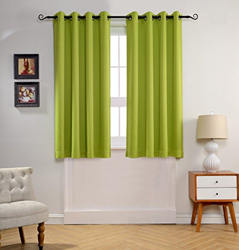 mysky home solid grommet top thermal insulated window blackout curtains for nursery room 52 by 63 inch apple green 1 panel