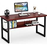 Tribesigns Computer Desk with Bookshelf, 55 Simple Modern Style Writing Desk with Metal Legs Works as Office Desk Study Table Workstation for Home Office in Cherry