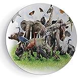 8'' Ceramic Decorative Plate Wildlife Decor Pattern Ceramic Plate Digital Collage of Wild Animals with African Safari Animals Zoo Print Artwork