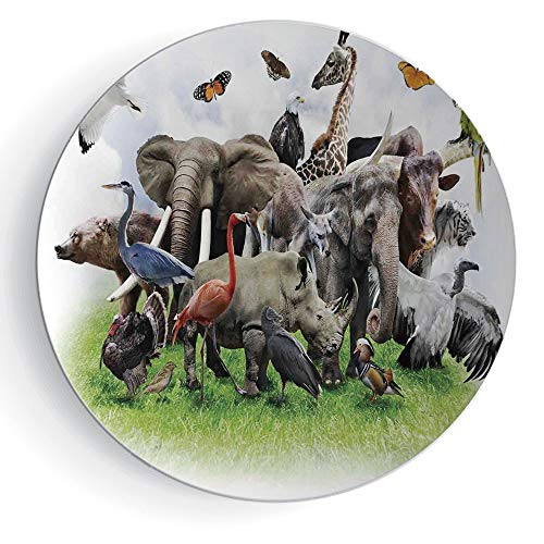 8'' Ceramic Decorative Plate Wildlife Decor Pattern Ceramic Plate Digital Collage of Wild Animals with African Safari Animals Zoo Print Artwork by iPrint