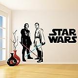 (94'' x 66'') Star Wars Vinyl Wall Decal / Obi Wan Kenobi & Anakin Skywalker with Lightsaber Die Cut Decor Self Adhesive Sticker + Free Decal Gift!