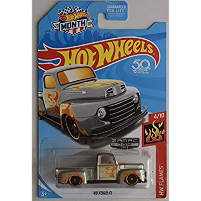 Hot Wheels 1:64 Scale Flames 4/10, ZAMAC '49 Ford F1 50TH Anniversary 2020 Month Card: Toys & Games