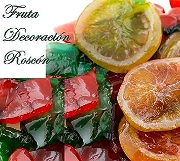 Pack Completo para Decorar tu Roscón de Reyes Compuesto por Nata Vegetal (No Baja), Fruta Escarchada, Almendras Laminadas o Daditos, Azúcar Perlada & Kit Sorpresa: Amazon.es: Hogar