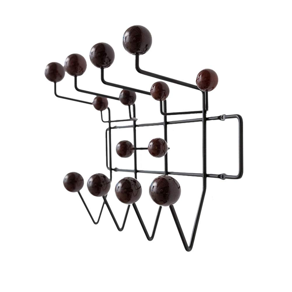 Black GWM Shelf Iron Wire Coat Rack with Solid Wood Hook, Wall Coat Hooks, Wall Storage Display Decoration Organizer for Entryway Hallway Living Room Bedroom (color   Black)