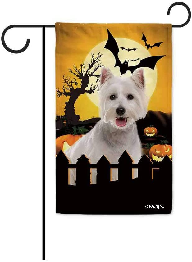 BAGEYOU Happy Halloween Jack O Lantern with My Love Dog Westie Decorative Garden Flag for Outside 12.5X18 Inch Printed Double Sided