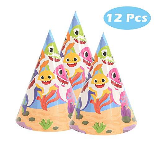 12 Pcs Baby Cute Shark Hat for Birthday Decorations Shark Theme ()