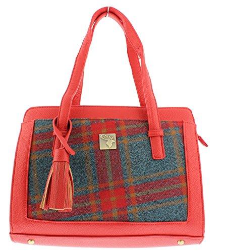 'House of Tweed' Tassel Handbag Red/Grey