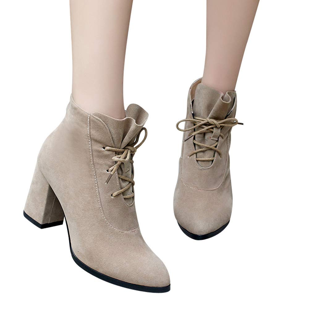 Hemlock Women High Heel Boots Lace-Up Pointed Toe Booties Shoes Wedding Party Martin Boots Square Heels