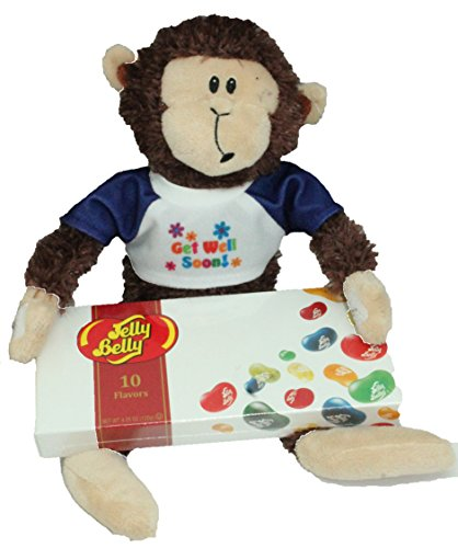 Get Well Gifts - Monty Monkey Plush Wearing Get Well Soon T-Shirt and Jelly Belly Jelly Beans - Comes in Organza Bag So Its Ready For Giving!