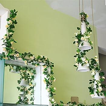 Yiliyajia Artificial Rose Vine Garlands,Silk Flowers Flora Green Leaf  Garlands,Home Decor Wedding