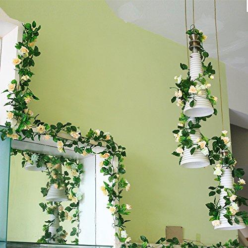 Yiliyajia Artificial Rose Vine Garlands,Silk Flowers Flora Green Leaf Garlands,Home Decor Wedding Decoration 8Ft Length Pack of 5 (Beige Lily Shade)