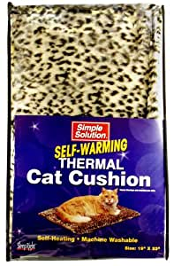 Simple Solution Self-Warming Thermal Cat Cushion, 19 Inch by 23 Inch, Leopard Print, Beige