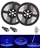FAVOLCANO DC 12V Ribbon Tape Light Flexible Strip Lights, Waterproof LED Light, LED Tape, 5630 SMD, 300 LEDs, 5 Meter/Roll (Blue, 2-Roll)