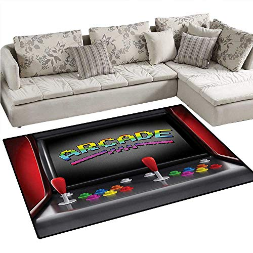 Video Games Anti-Skid Rugs Arcade Machine Retro Gaming Fun Joystick Buttons Vintage 80s 90s Electronic Girls Rooms Kids Rooms Nursery Decor Mats 3'x5' Multicolor ()