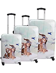 Chariot 3-Piece Hardside Lightweight Spinner Luggage Set, Cat Pilots