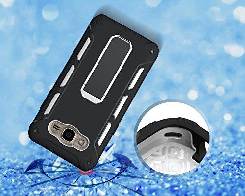 Funda Galaxy J2 2016,Saincat TPU Silicona con Diseño 3D Carcasa Case con Stand Holder Bumper Case con integrado Soporte Soporte Anti-Drop Shockproof Slim Funda caso Parachoques Silicona Transparente T Blanco