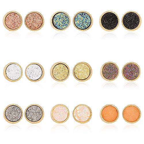 (Monade 9 Pairs Round Druzy Stud Earrings Set for Women Girl,Stainless Steel Hypoallergenic Pierced Cute Earrings Bling Jewelry)
