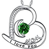 I Love You Mom Jewelry Heart June Birthstone Necklace Birthday Gift for Her Sterling Silver