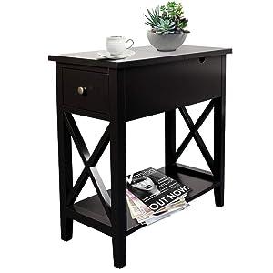 ChooChoo Flip Top Open End Table, Narrow Side Table Slim End Table for Living Room Bedroom