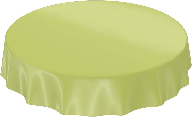 ANRO Mantel encerado mantel hule Uni brillo Monótono, toalla, verde oliva, Schnittkante Rund 120cm