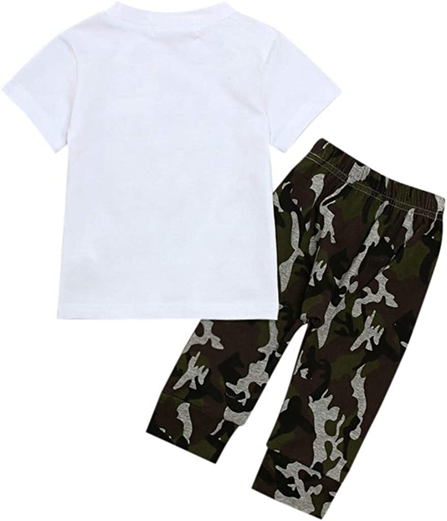 Kid Boy Clothes Summer Outfit Letter Print T-Shirt Camouflage Long Pants Set for Toddler Baby Kehen