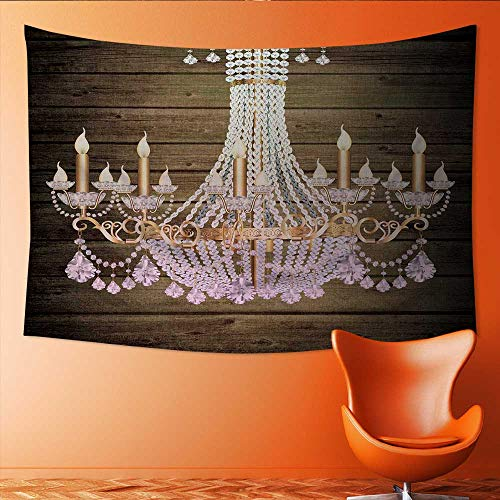 Printsonne Tapestry Table Cover Bedspread Beach Towel Elegance Crystal Strass Chandelier with Eight Lamps Dorm Decor 84W x 54L Inch