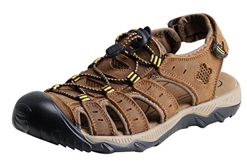 iLoveSIA Men's Leather Walking Sandals Brown US Size (Washable Leather Walking Shoe)