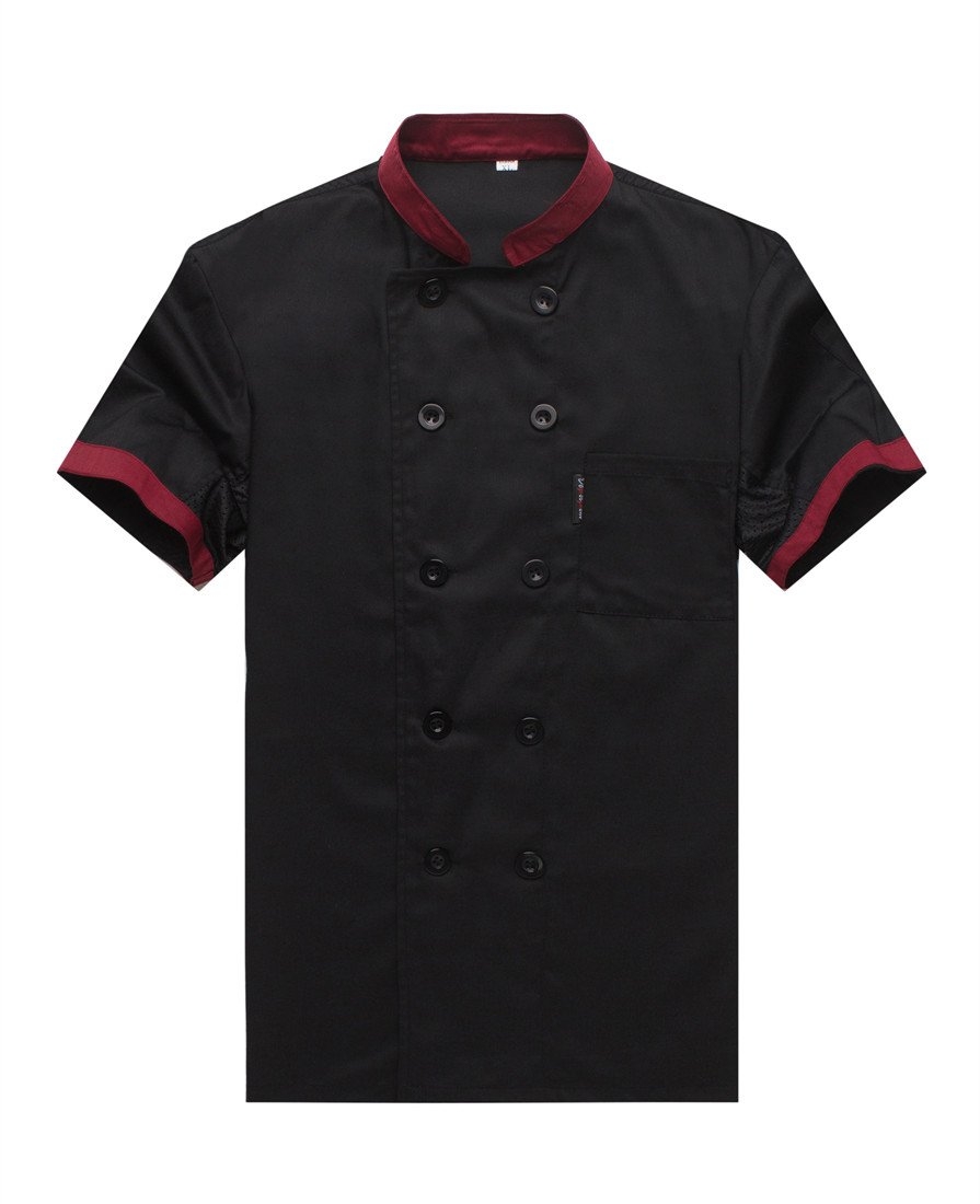 WAIWAIZUI Chef Jackets Waiter Coat Short Sleeves Underarm Mesh Size L (Label:XXL) Black