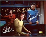 William Shatner and Leonard Nimoy Autographed 8x10 Star Trek Set Photo