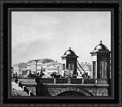 Anichkov Bridge in St. Petersburg 24x20 Black Ornate Wood Framed Canvas Art by Vasily Sadovnikov (Petersburg St Galleria)