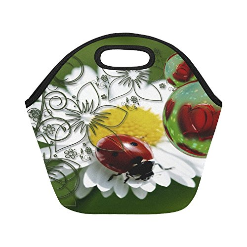 unch Bag Ladybug Heart Love Luck Abstract Greeting Large Size Reusable Thermal Thick Lunch Tote Bags For -lunch Boxes For Outdoors,work, Office, School ()
