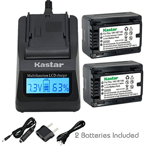 - Kastar Fast Charger and Battery (2-Pack) for Panasonic VW-VBT190 and HC-V110 V130 V160 V180 HC-V201 V210 V250 HC-V380 HC-V510 V520 V550 HC-V710 V720 V750 V770 HC-VX870 HC-VX981 HC-W580 W850 HC-WXF991