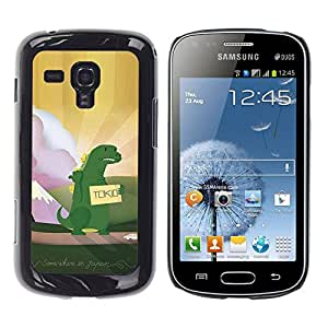 rígido protector delgado Shell Prima Delgada Casa Carcasa Funda Case Bandera Cover Armor para Samsung Galaxy S Duos S7562 /Hitchhiking Dinosaur Monster Kids/ STRONG