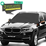 "AUTOCLUB Car Windshield Snow Cover,3-Layer Protection&Double Side Design,Snow, Ice, Frost,UV Full Protection,Extra Large & Thick Fit for Most Vehicle(87""x50"") (Windshield)"