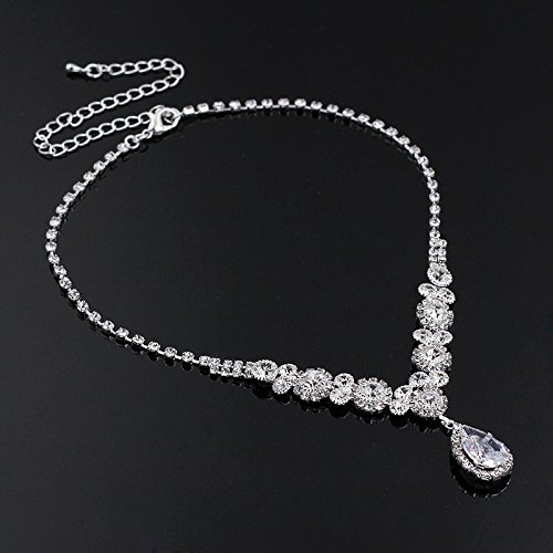 YSOUL Wedding Party Crystal Jewelry Set Necklace Earrings Bridal Bridesmaid
