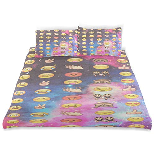 (Emojis On Pinterest Comforter Cover Quilt Set with 2 Pillowcase Microfiber Soft Twin Size Bed Set 66