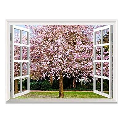 Removable Wall Sticker/Wall Mural - Sakura Flowers Blooming | Creative Window View Wall Decor - 36