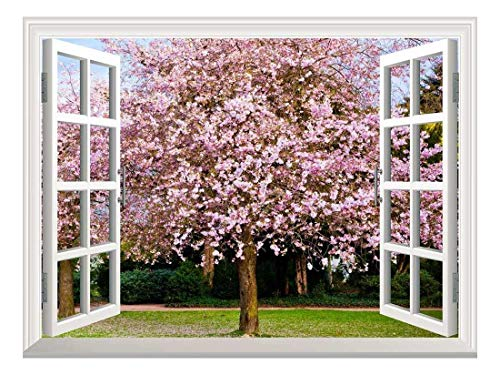 Removable Wall Sticker Wall Mural Sakura Flowers Blooming Creative Window View Wall Decor