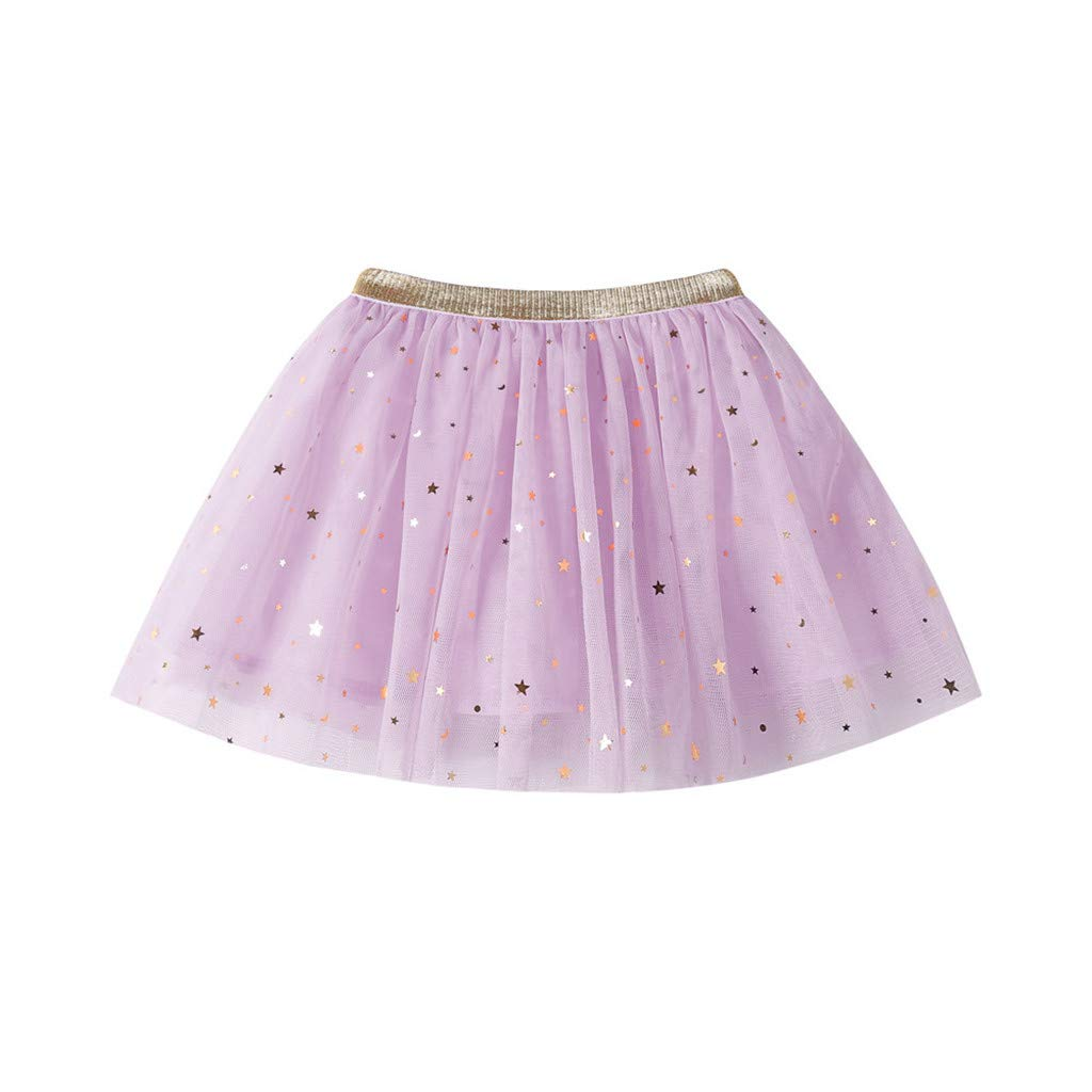 YRD TECH for 0-7 Years Old Kids Clothes Set Fashion Baby Kids Girls Princess Stars Sequins Party Dance Ballet Tutu Skirts Purple