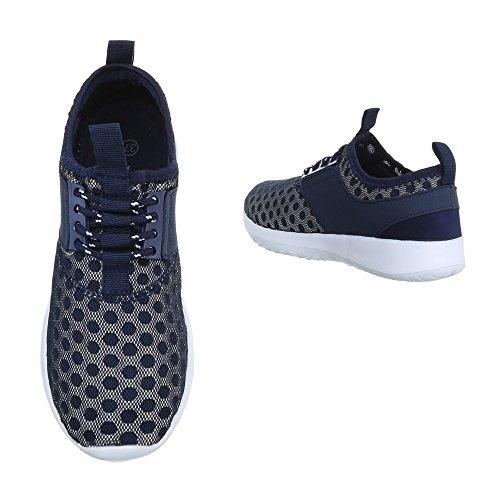 Ital-Design Low-Top Sneaker Damenschuhe Low-Top Sneakers Schnürsenkel Freizeitschuhe Dunkelblau QH-7