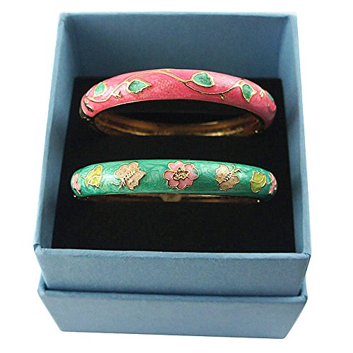 UJOY Women's Bangles Flower Butterfly Zinc Alloy Cloisonne Bracelets Bangle Jewelry Sets with Box 55A61-55A67 pink and green from UJOY