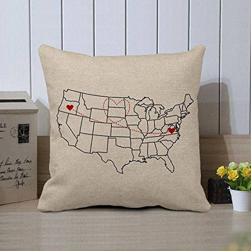 Amazon Com Personalized Us Map Pillow Case Custom World Map Cushion
