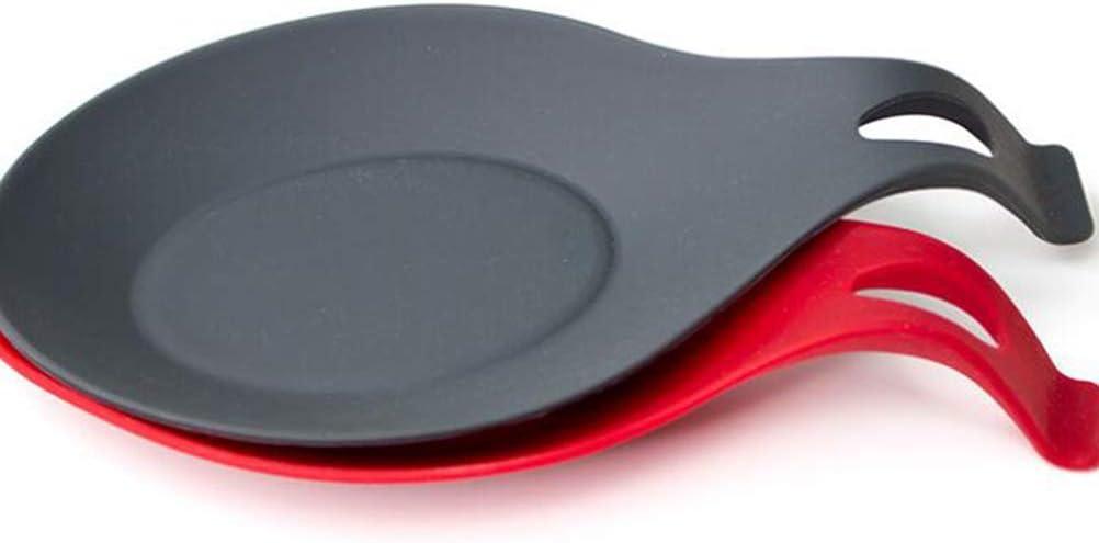 /étag/ère support pour ustensiles de cuisine r/ésistance /à la chaleur cuill/ère 19*10CM Rouge Lot de 2 cuill/ères en silicone rouge et noir cuill/ère coussin pour restaurant /à la maison