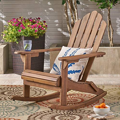 Christopher Knight Home 305378 Cara Outdoor Adirondack Acacia Wood Rocking Chair, Dark Brown Finish