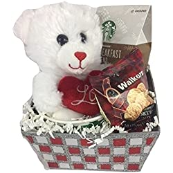 Starbucks I Love You Valentines Day Bear Glittery Gift Basket