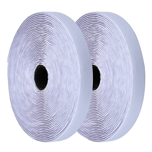 eBoot White Self Adhesive Hook and Loop Tape Fastening Tape, 32.8 Feet - Loop Fasteners Self Adhesive