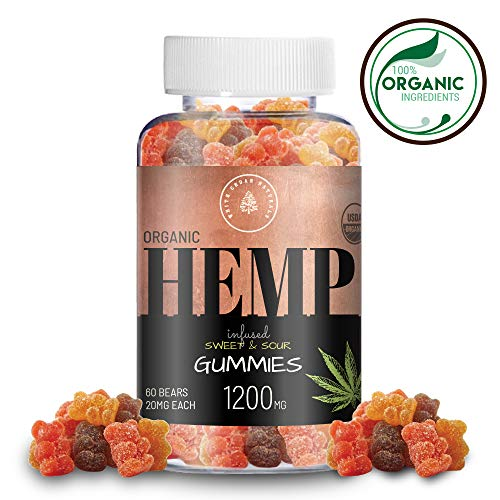 Organic Hemp Oil Extract Gummies - 1200MG (20MG/Gummy) Helps Relieve Pain, Stress & Anxiety - Better Sleep - Made with Organic Colorado Hemp, Rich in Omega 3-6-9 & Vitamin E, Non-GMO, Vegan. -