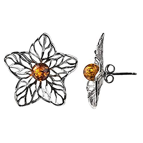 Sterling Silver Amber Flower Stud Earrings (Star Earrings Amber)