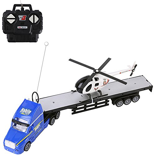 2.4Ghz RC Blue Semi Truck with Trailer Bed Toy and Helicopter, Big Rig Car (20