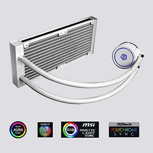 ID-COOLING AURAFLOW X 240 Snow CPU Water Cooler 12V RGB AIO Cooler 240mm CPU Liquid Cooler 2x120mm RGB, Intel 115X/2066, AMD TR4/AM4